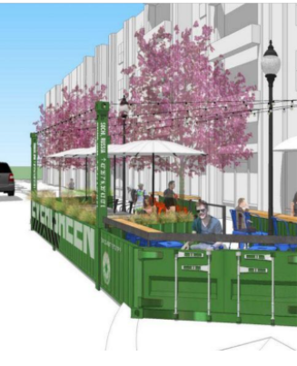 Parklet Rendering on Pine Ave