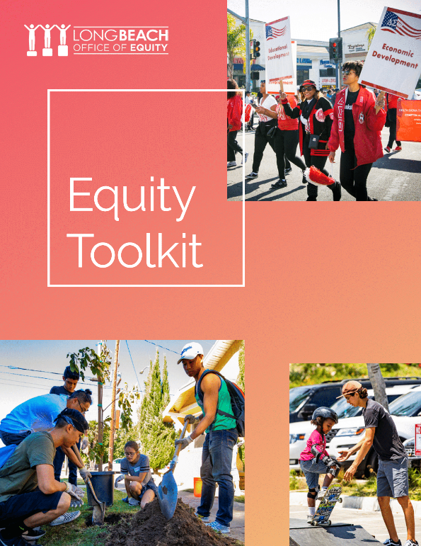Cover of a report with three photos. The first photo is of Black women carrying a sign that says economic development, the second photo is of a group of people planting a tree, and the third photo is of a young man teaching a young girl how to skateboard on a ramp.