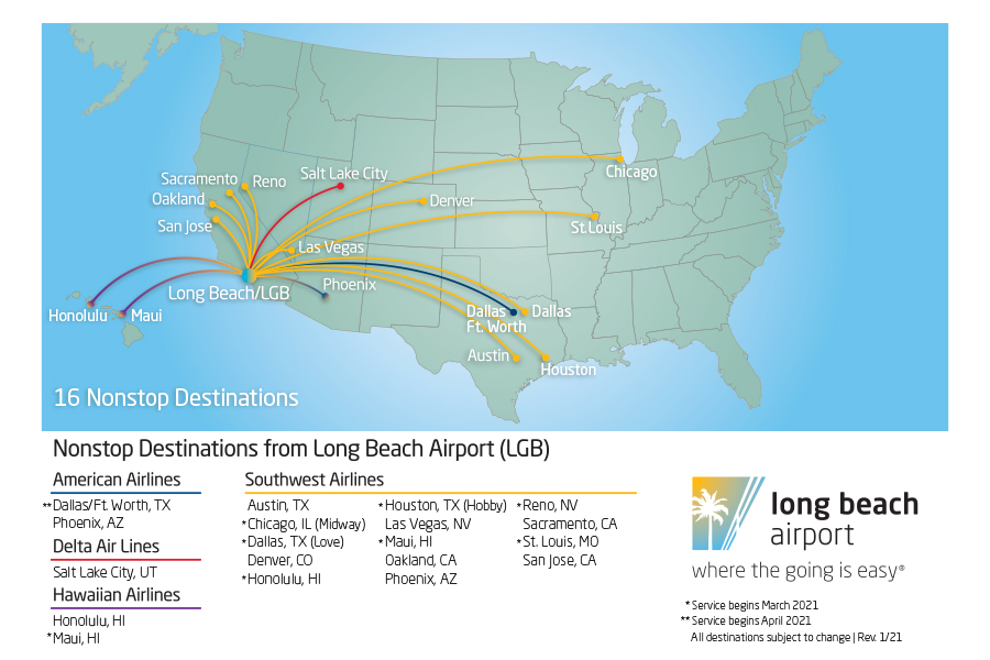 Long Beach Airport Flight Destinations Map