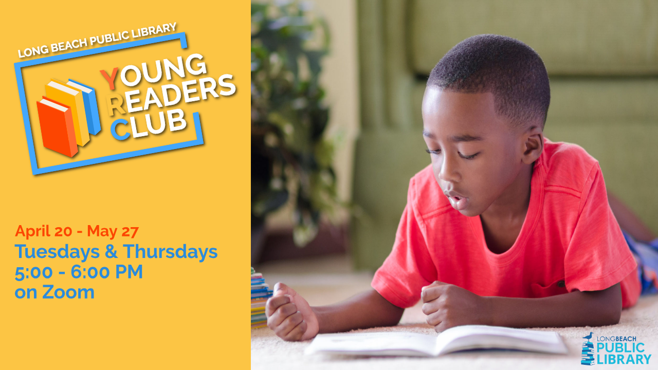 Young Readers Club Flyer with boy reading book