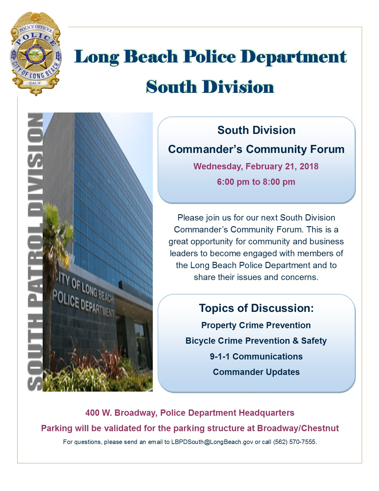 South Divsion Commander's Forum_Feb 2018